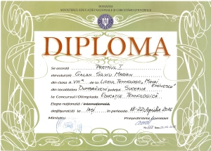 Diploma locul I Nationala 2016